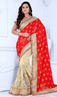 Style and trend would be on the peak of your attractiveness moment you attire this red and beige color chiffon net half n half sari. The amazing saree creates a dramatic canvas with extraordinary moti and resham work. #chiffonhalfnhalfsaree #netlaceworksaris #traditionaldesignsarees