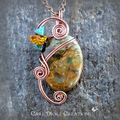 Copper Green Opal Wire Wrapped Pendant Necklace in Copper by CareMoreCreations.com, $29.00