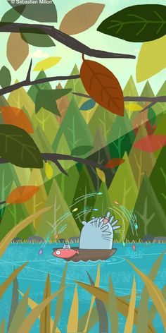 Fishin' With Pops - Sebastien Millon / Art & Illustration