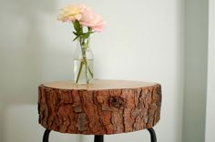 Log Table: This is a DIY, but let's be realistic; There's no way I'm chopping down a tree & making this. I'd rather pay someone else.