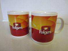 Folgers Ceramic Coffee Cups Mugs 8 Fl Oz Size Set 2