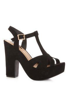 Black Platform T Bar Sandal
