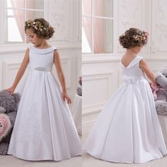 Little Flower Girls Dresses Crew Neckline with Collar Lace Appliques A Line White Little Girls First Communion Pageant Dress-in Flower Girl Dresses from Weddings & Events on Aliexpress.com | Alibaba Group