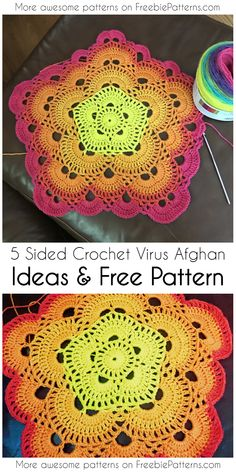5 Sided Crochet Virus Afghan Ideas & Free Pattern - - 5 Sided Virus Crochet Afghan is one of the most stunning crochet project ever! If you are already familiar with the virus afghan with 4 sides than you will be ready to go. Crochet Mandala Pattern, Crochet Square Patterns, Crochet Stitches Patterns, Crochet Round, Easy Crochet, Free Crochet, Afghan Patterns, Crochet Ideas, Crochet Tutorials