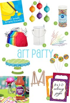 art party ideas and supplies {style board} | thecelebrationshoppe.com #artparty #rainbow #partysupplies #partyideas #paint