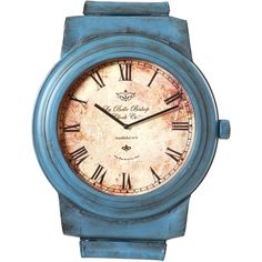 Wristwatch-shaped wall clock in blue.    Product: ClockConstruction Material: MetalColor: Blue
