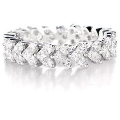 18K WHITE GOLD DIAMOND ETERNITY WEDDING BAND RING in Jewelry & Watches, Engagement & Wedding, Wedding & Anniversary Bands | eBay