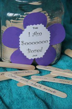 "Home Celebration: A Blog Of Comfort and Joy: The ""I Am Sooooooo Bored"" Jar #bored #kids #activity"