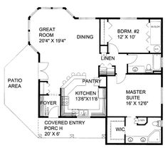 Craftsman Style House Plan - 2 Beds 2.5 Baths 1308 Sq/Ft Plan #117-691 Floor Plan - Main Floor Plan - Houseplans.com