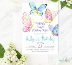 Butterfly Invitation, Butterfly Birthday, Butterfly Party, Birthday Invitation, Butterfly Invite, First Birthday, Printable, Butterflies by SarahFinnDesign on Etsy