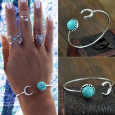 Moon and Sun Turquoise Bangle Beautiful moon and sun bracelet Jewelry Bracelets