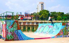 Skateboarding on art by Mike Kershnar in Brazil