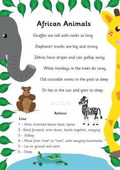 A fun and engaging poem about African animals that has been beautifully illustrated by a member of our team. Ideal to use as part of a jungle theme in your school or early years setting. Preschool Jungle, Preschool Songs, Preschool Themes, Preschool Learning, African Poems, Animal Poems, Poems About Animals, Kids Poems, Best Poems For Kids