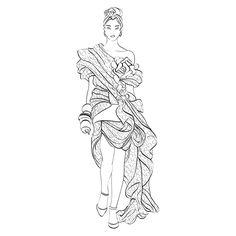 from #pepinpress à colorier ou aquarelle sur papier 250gsm  #fashion #art #colouring @washi_paper
