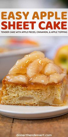 Easy Apple Cake is and easy sheet cake made with fresh apples and cinnamon topped with a homemade apple pie filling. Healthy breakfast variation included! #dessert #apples #cake #sheetcake #applecake #dinnerthendessert Dessert Recipes, Dinner Recipes, Desserts, How To Make Cake, Food To Make, Homemade Apple Pie Filling, Easy Apple Cake, Fresh Apples, Recipe Please