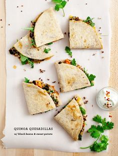 Quinoa Quesadillas with black beans & sweet potatoes - a healthy, meatless dinner or appetizer