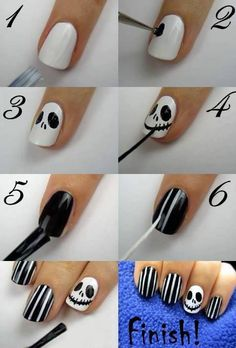 Halloween diy nails art tutorial back and white