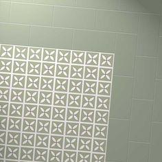 Harvey Maria Little Bricks luxury vinyl tiles in Apple Green, creating a border around the Dee Hardwicke Pear Tree Green flooring with design petal pattern Vct Tile, Vinyl Tile Flooring, Luxury Vinyl Flooring, Brick Flooring, Luxury Vinyl Tile, Vinyl Tiles, Flooring Ideas, Floors, Harvey Maria