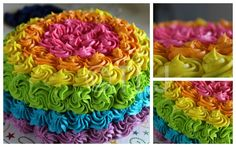 Neon rainbow rosette cake-Test cake-Even with the wrong tip i do really like how it turned out :)... The inside is rainbow colors also,with vanilla bean icing