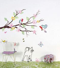Sticker mural Oiseaux, Chat, Papillon - Stickers Mimi'Lou