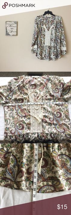 ⬇️ Price Drop Black Rain Blouse Blouse by Black Rain. Has all the neutral colors. Perfect for fall coming up. EUC. Worn twice. Long sleeve. Please check measurements! I think this brand runs big. Measurements and materials are pictured. Bundle for best deal. Also, I will consider any and all offers. Tops Blouses