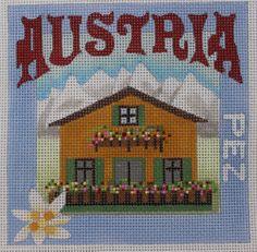 Denise DeRusha Designs Austria Hand Painted Needlepoint Canvas 18 count