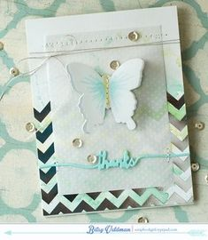 Butterfly Thanks Card by Betsy Veldman for Papertrey Ink (February 2015)
