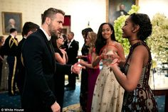 Malia Obama caught giving sister Sasha a thumbs-up in front of Ryan Reynolds | Daily Mail Online