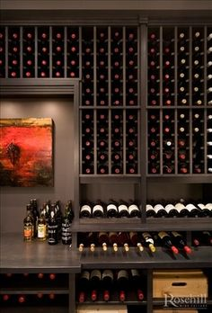Custom Wine Cellar, Stained Maple #rosehillwinecellars #winecellar #winestorage  {wineglasswriter.com/}