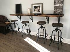 Live Edge U-Shaped Bar - Black Walnut Industrial with Metal .- Live Edge U-Shaped Bar – Black Walnut Industrial with Metal and Barnwood Base - High Top Tables, Bar Tables, Pool Tables, Live Edge Bar, Deco Cool, Design Rustique, Table Haute, Wall Bar, Cuisines Design