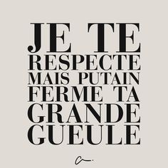 i respect you but fucking shut your big mouth. eloquent because its en francais The Words, Cool Words, Words Quotes, Me Quotes, Funny Quotes, Sayings, Blabla, I Respect You, French Quotes