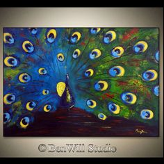 Love the peacock turning blue to green...    ORIGINAL Peacock Art LARGE Abstract COLORFUL Peacock by benwill, dollar 360.00
