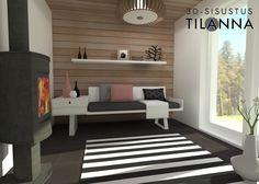 3D-visualisointi ja -sisustussuunnittelu/ Pihasaunan moderni mustavalkoinen pukuhuone/ saunatupa, musta-valkoraitainen matto, tervaleppäpaneeli katossa ja seinässä, musta laatta 30x60, valkoiset maalatut seinät, jalallinen kamiina, Dressing room, sauna / Keski-Suomen Rakennuskeskus, Korteniityntie 15-21, uudiskohteen ennakkomarkkinointi/ 3D-sisustus Tilanna, sisustussuunnittelija
