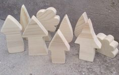 Wooden Town with Trees - Set of Natural Wooden Houses and Trees Waldorf Style