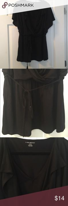 Lane Bryant Black Top with built in Tank Lane Bryant Black Top with built in Tank, elastic waist and tie accent. Such a flattering piece. Size 14/16. Worn only a few times. No trades. Lane Bryant Tops Tees - Short Sleeve