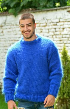 Mohair Sweater, Men Sweater, Fuzzy Pullover, Knit Patterns, Pulls, Lana, Hand Knitting, Crew Neck, Pure Products