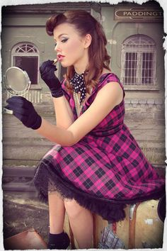 Buy God Save The Kitten Tartan Collar Dress from Kitten D'Amour at Westfield or buy online from the Kitten D'Amour website. Sixties Fashion, Retro Fashion, Vintage Fashion, Rockabilly Fashion, Rockabilly Style, Vintage Inspired Fashion, Pin Up Models, Pin Up Style, Collar Dress