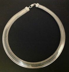 Vintage Italian MILCR 18-inch Sterling Silver Herringbone Collar Chain Necklace SOLD!! Was available at Gadgets and Gold in Gainesville, FL!