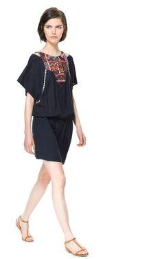 EMBROIDERED BIB FRONT DRESS - Dresses - Woman   ZARA United States