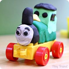 Put together a fun play dough train set for kids to make their own trains that really roll using Play-Doh (or homemade play dough) and Lego Duplo pieces.