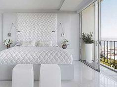 all white bedroom design for hotel White Bedroom Design, White Bedroom Decor, Luxury Bedroom Design, White Bedroom Furniture, Bedroom Ideas, White Bedrooms, Dark Furniture, Bedroom Designs, Bedroom Floor Tiles