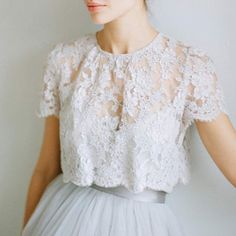 Our Louise Lace blouse is perfect paired with our Lya Tulle Skirt.  Email info@alexandragrecco.com for a list of our stockists. #alexandragreccobridal