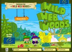 """Dzikie Internetowe Lasy - celem podróży przez Dzikie Internetowe Lasy jest dotarcie do """"E - Miasta"""", miejsca zabawy, pokoju i wolności. Podróż obfituje w wiele przygód i niebezpieczeństw. W trakcie zabawy każdemu towarzyszy W@b - mały pajączek, który chętnie służy pomocą."""
