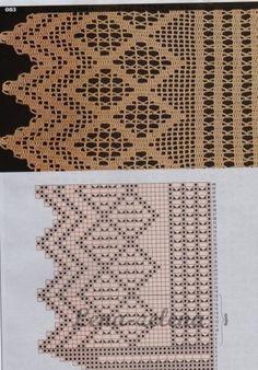 Crochet Boarders, Crochet Motifs, Crochet Diagram, Thread Crochet, Filet Crochet, Diy Crochet, Crochet Doilies, Crochet Patterns, Crochet Curtain Pattern