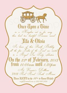 Royal Princess Birthday Party Invitation DIY by modpoddesigns, $12.00
