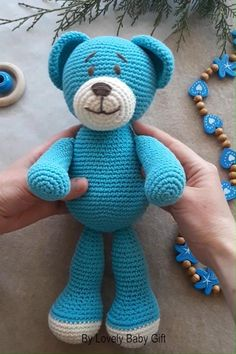 Crochet Pattern to make Teddy Bear Amigurumi Toy Lovely Baby Gift Crochet Teddy Bear Pattern, Crochet Patterns Amigurumi, Crochet Toys, Crochet Baby, Baby Shower Gifts For Boys, Single Crochet Stitch, Crochet Basics, Amigurumi Toys, Crochet Animals