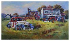 """Dale Klee /""""Modified Memories/"""" Race Car Print SN 28/"""" x 14/"""""""