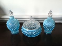 Fenton Blue Opalescent Hobnail Dresser Set Powder by FrannieBee