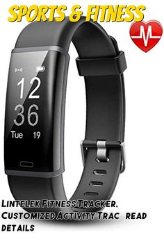 (This is an affiliate pin) Lintelek Fitness Tracker, Customized Activity Tracker HR Monitor, Fit Watch with 14 Sports Modes, Bluetooth Pedometer Watch, Calorie Counter for Women, Men and Kids