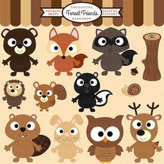 woodland clipart digital clip art owl hedgehog von DigitalBakeShop
